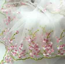 "Lace Fabric White Organza Pink Floral Embroidery Wedding Bridal 51"" width 1Yard"