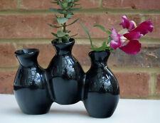 Black Vase Small Triple Flower Plant Holder Ceramic Decoration 17cm wide New