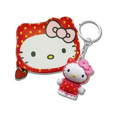 ORIGINALE SANRIO HELLO KITTY FRAGOLA Zip Portamonete & Portachiavi Profumato Set Regalo