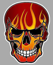 TETE DE MORT FLAMMES FLAMMING HOT ROD BIKER AUTOCOLLANT STICKER 10cmX8cm SA160