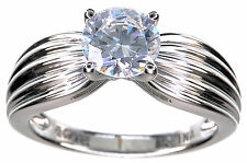 Sterling Silver 1.50 Ct tw Clear Diamonique Solitaire Ring Size 6