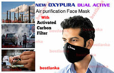 3pcs Anti Smoke Dust Air Purifying Face Mask with activated carbon filter Black