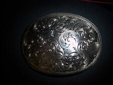 LADIE'S OVAL ENGRAVED WESTERN BELT BUCKLE WITH FLOWERS BY MONTANA SILVERSMITHS
