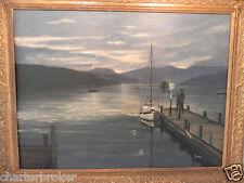 ORIGINAL VINTAGE FRAMED OIL ON CANVAS BY T. WARD. MOONLIT LAKE DISTRICT? SCENE,