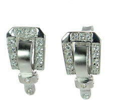 Solid 925 Sterling Silver Clear CZ Satin Finish Buckle Earrings '
