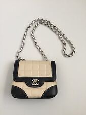 Rare Vtg Chanel Mini Quilted Patent Leather Beige Black Flap Bag