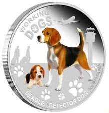 2011 WORKING DOGS BEAGLE DETECTOR DOG Silver Proof Coin COA 301