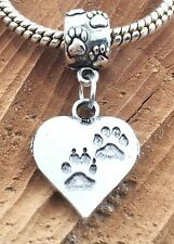 PawPrint on my Heart Charm on Paw Print Slider Bead for Bracelet Or Necklace