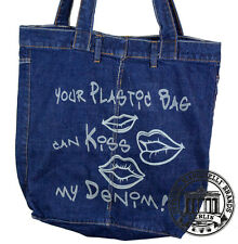 S10. KISS MY DENIM Jeans Denim Shopping Bag Marionelli Tasche  Stofftasche