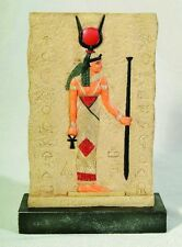 EGYPTIAN ISIS ART PLAQUE WITH STAND STATUE.HOME DECOR. ANCIENT EGYPT COLLECTIBLE
