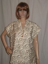 vtg 80's EVAN PICONE cotton TOP blouse TRIBAL PRINT large size NWT DEAD STOCK