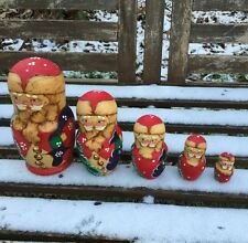 Santa 5 Piece Russian Nesting Doll. Winter Christmas Handmade Stacking