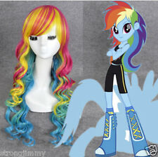 Hasbro My Little Pony Rainbow Dash long multicolor curly Halloween cosplay wigs&