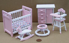 1:12th Scale 5 Piece Pink & White Nursery Set Dolls House Miniature Bedroom 1538