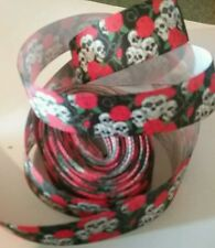 1m g/grain ribbon 22mm black skulls roses Goth Halloween