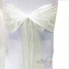 Beige Organza Chair Sash Bow Wedding Anniversary Party Reception Decoration 1Pcs