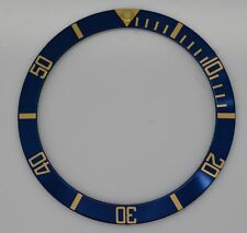 BEZEL INSERT ROLEX SUBMARINER WATCH BLUE GOLD CASES 16613 16618 16803 16808