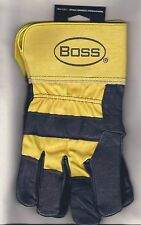 Boss Men's Black Sheepskin Leather Palm Yellow Cotton Back Work Glove Unlined, L