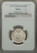 Germany 1909D 1 Mark NGC MS65 scarce high grade silver coin