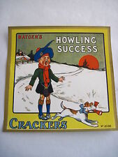 """Delightful 30-40's Art Deco English Xmas Label for """"Crackers"""" Poppers w/ Dog *"""