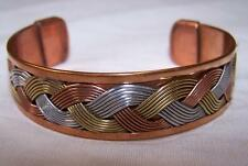 SOLID COPPER TRICOLOR CUFFED HEALTH BRACELET men women lady jewelry braclet NEW