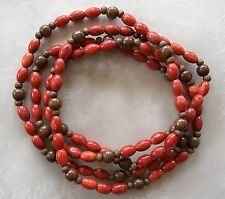 "54"" Long Strand Red Sponge Coral Barrel & Wood Round Beads 6mm-12mm Necklace"