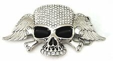 Skull Crossbones Wings Belt Buckle Silver Bling Crystal New Mens Chrome Iced Out