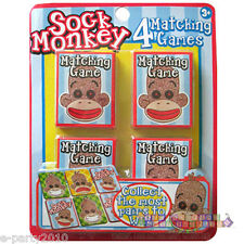 SOCK MONKEY MATCHING GAMES (4) ~ 1st Birthday Party Supplies Favors Activities