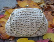 Vintage 1960s Olympic Accessory (Japan) Woven Cello Cream Straw Handbag, EX!