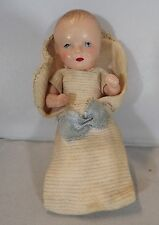 "VINTAGE 1930s 4"" FRENCH SNF CELLULOID BABY DOLL IN SLEEPING BAG"