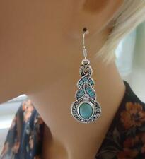 Pop Women Girls Bohemia Tibetan Silver Turquoise Crystal Dangle Hook Earrings