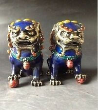 A Pair handwork old Cloisonne painting Copper Statues - Lion Foo Dog