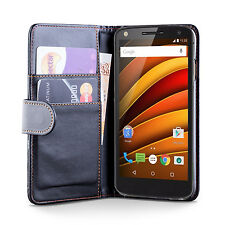 Motorola Moto X Force PU Leather Black Wallet Case Cover + Screen Protector