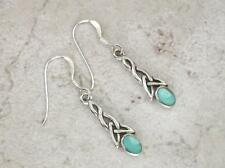 CUTE STERLING SILVER TURQUOISE CELTIC DANGLING EARRINGS  style# e0313