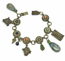 Antique Victorian Chinese Silver Filigree CHINA Charm Bracelet 7""