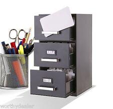 Mini Filing Cabinet Business Address Card Holder file Desktop index 3 Drawer A-Z