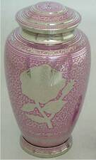 PINK & SILVER ROSE  HUMAN ADULT CREMATION URN, NEW FUNERAL ASH URNS