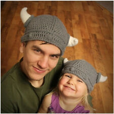 New Children Infant Handmade Crochet Winter Hat Kid Viking Horns Knitted Beanie