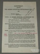 1938 Quebec Baseball Contract Signed by George Pepper