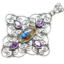 "Huge Labradorite, Amethyst 925 Sterling Silver Pendant 2 1/2"" Jewelry P540014F"