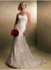 New White/Ivory Lace Wedding Dress Bridal Gown Size 6-16 UK
