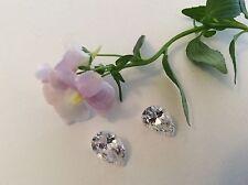 Cubic Zirconia Crystal Pear shape x2 Vintage 12x8mm C'1980 CRAFT Post Free
