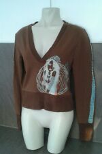 Punky Fish Ladies Girls Size 6 8 Brown Blue Face Jumper Top Sweater Autumn Wear