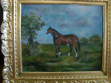 """HORSE ON THE LAWN"" Antique oil painting ."