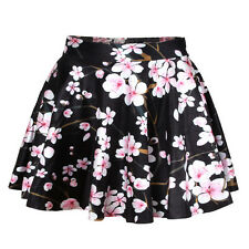 Cherry Blossom short Skater skirt - 8 - 10 UK, floral, japan, flowers, Black