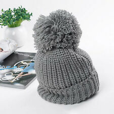 Women's Girl's Winter Warm Knitted Slouch Bobble Pom Hat Crochet Beanie Ski Cap