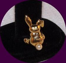 Vintage Gold tone, Rabbit Figural Pin with a Faux Pearl Tail.