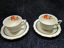W S George Lido Vermillion Rose 22K Tea Cups Saucers 40's Vintage TWO