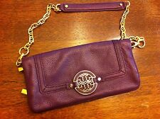EEUC Tory Burch Amanda Purple Leather Foldover Clutch Shoulder bag-$350