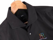 F122 HUGO BOSS SHIRT TOP SLIM-FIT GULDBORGSUND ORIGINAL PREMIUM BLACK size 38/15